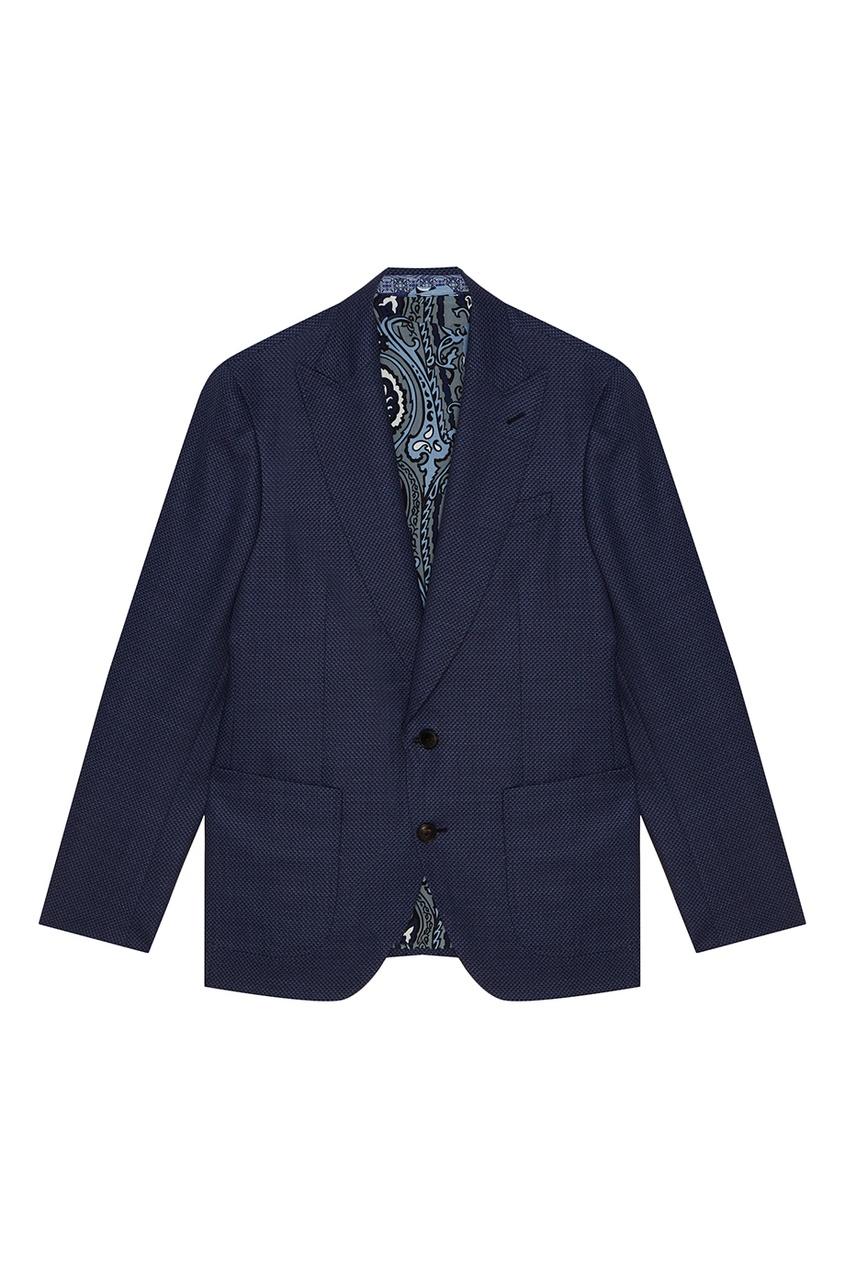 Купить со скидкой Шерстяной костюм-двойка синего цвета