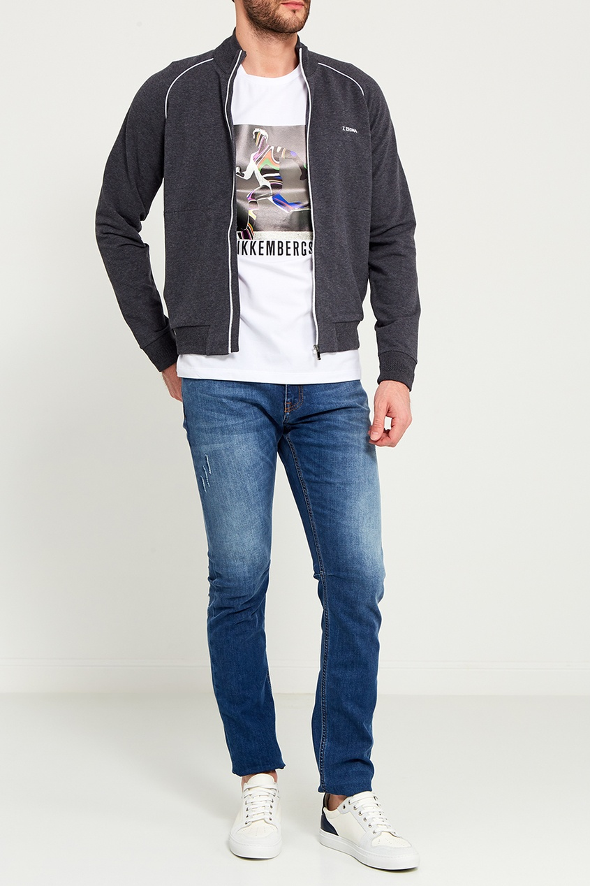 Dirk Bikkembergs Прямые синие джинсы с потертостями джинсы bikkembergs джинсы