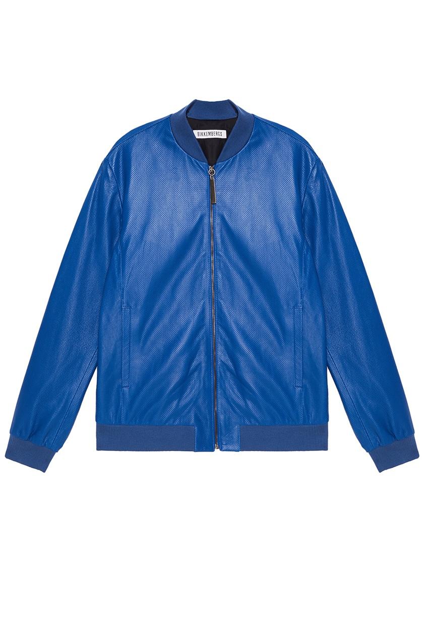 Куртка из синей перфорированной кожи