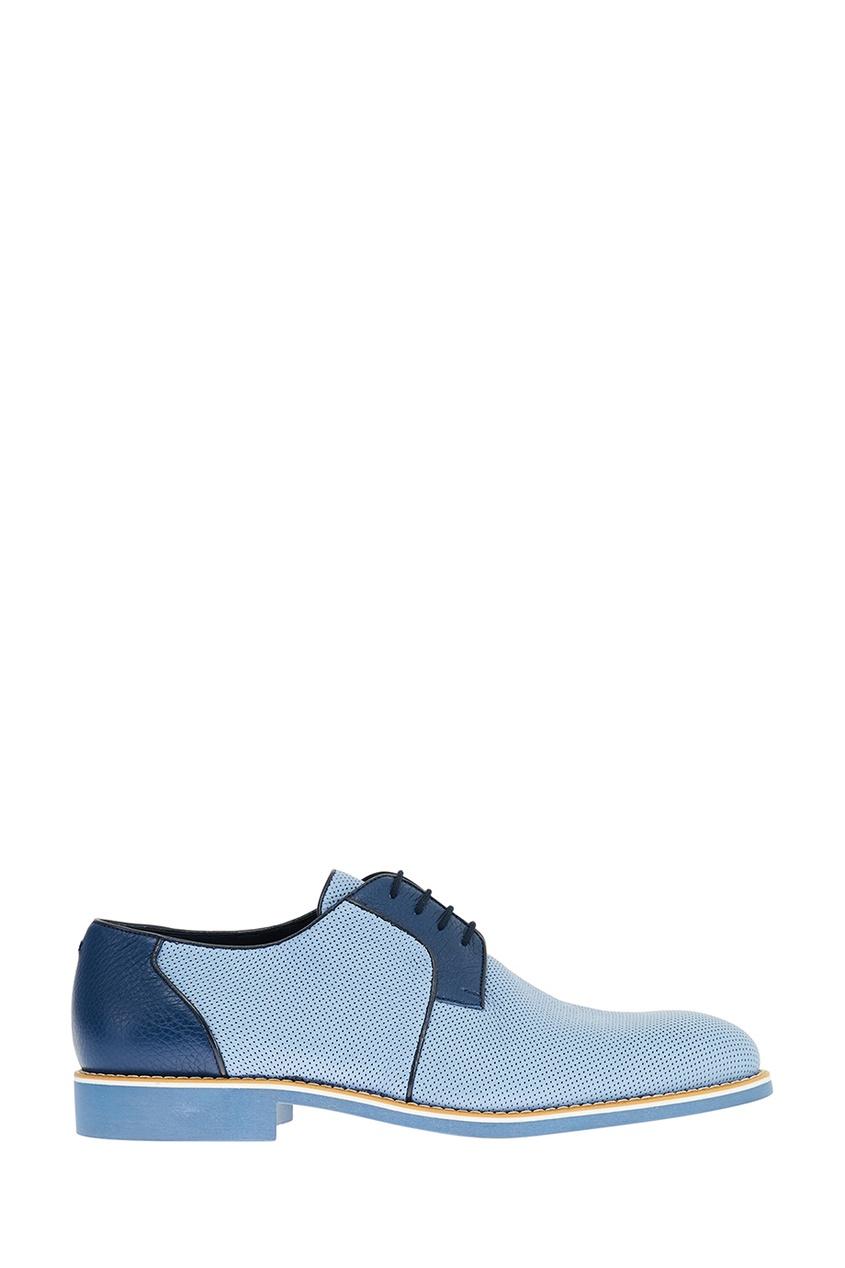 Голубые кожаные дерби Artioli 167473368 голубой фото