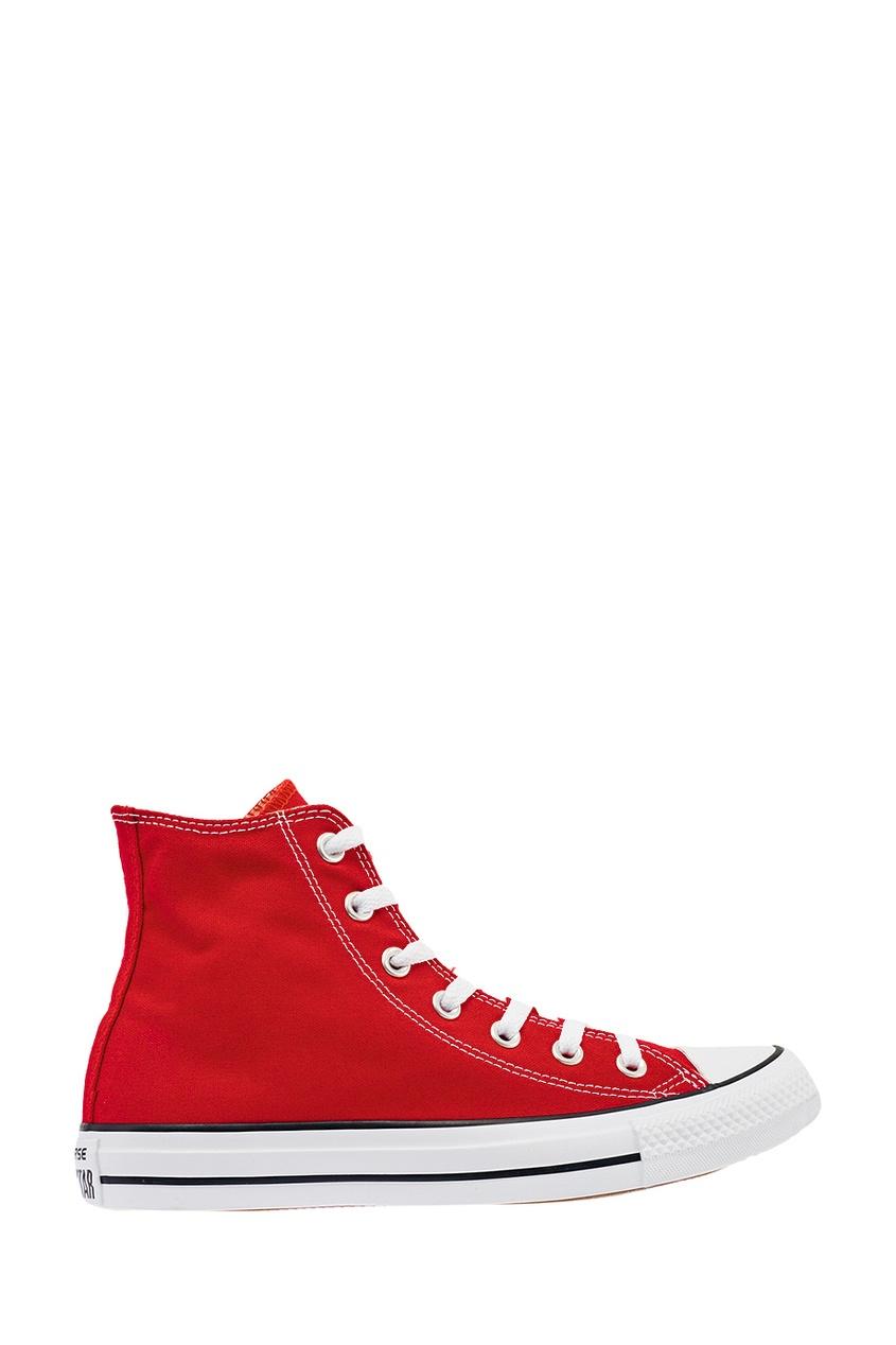 Высокие красные кеды из текстиля от Converse