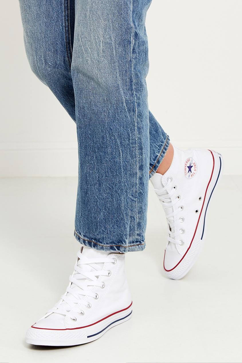 Высокие белые кеды из текстиля от Converse
