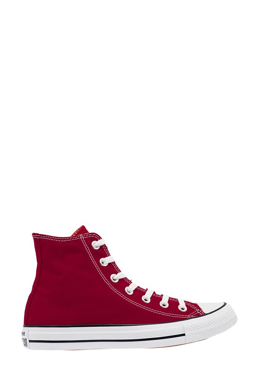 Высокие бордовые кеды из текстиля от Converse