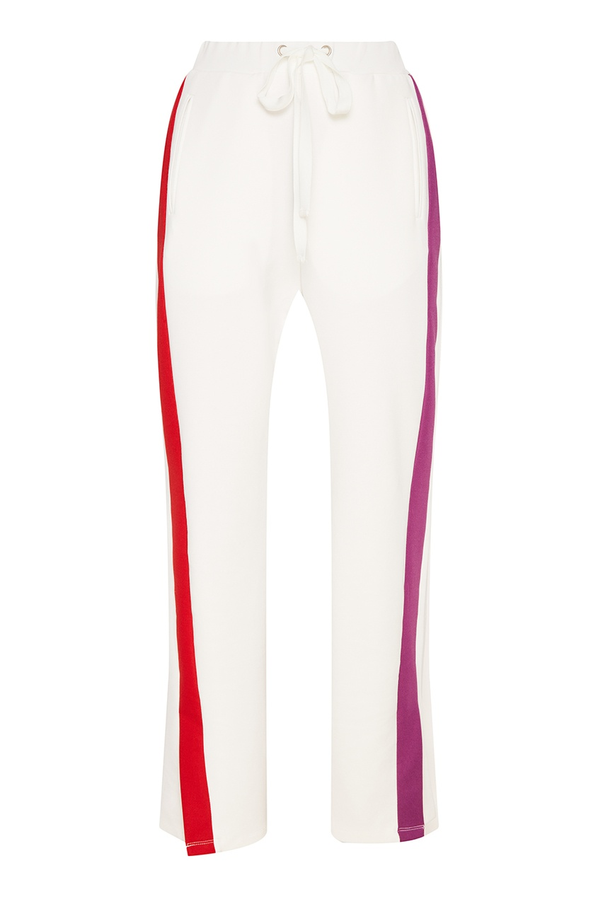 Белые брюки с разноцветными лампасами
