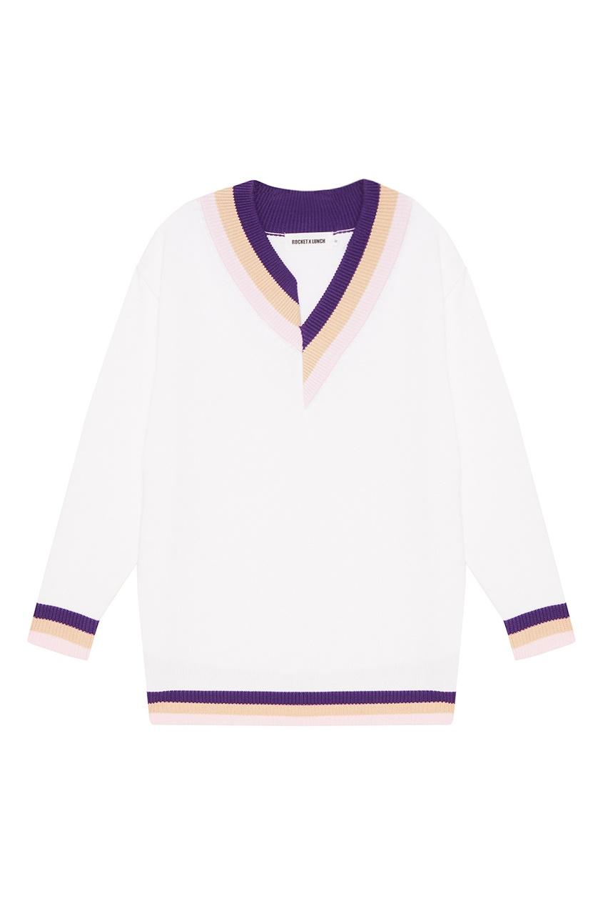 Белый пуловер с асимметричной окантовкой