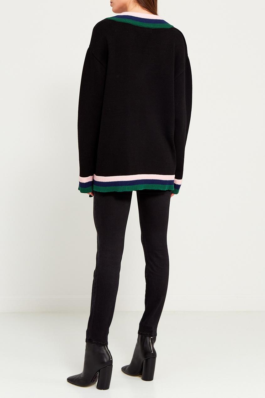 Черный пуловер с асимметричной окантовкой