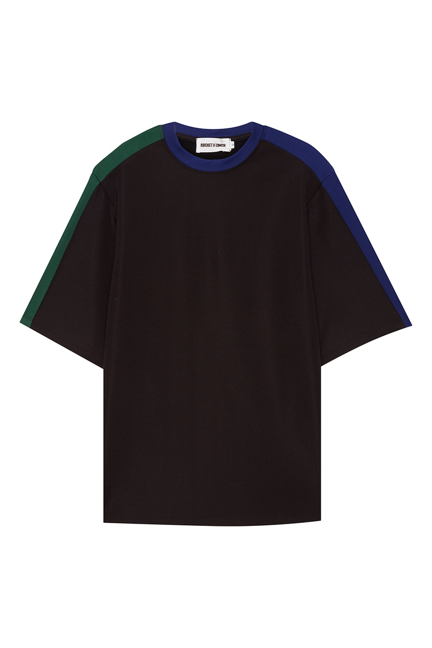 Rocket X Lunch Черная футболка с яркими полосками