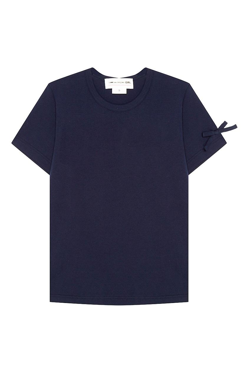 Comme Des Garcons Girl Синяя футболка с бантами на рукавах comme des garcons girl синее пальто с капюшоном