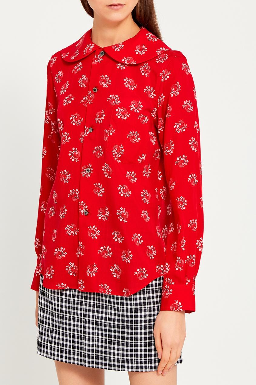 Comme Des Garcons Girl Красная блузка с принтом comme des garcons girl синее пальто с капюшоном