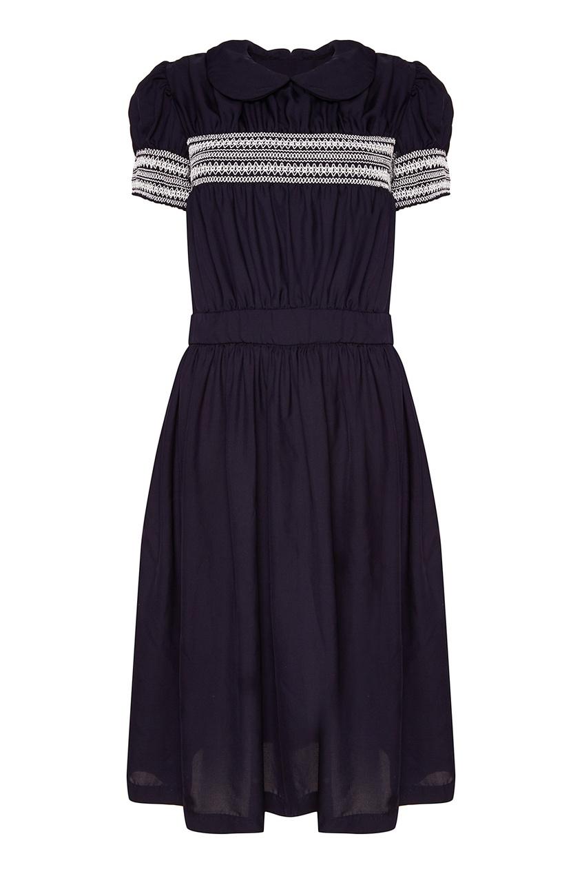 Темно-синее драпированное платье
