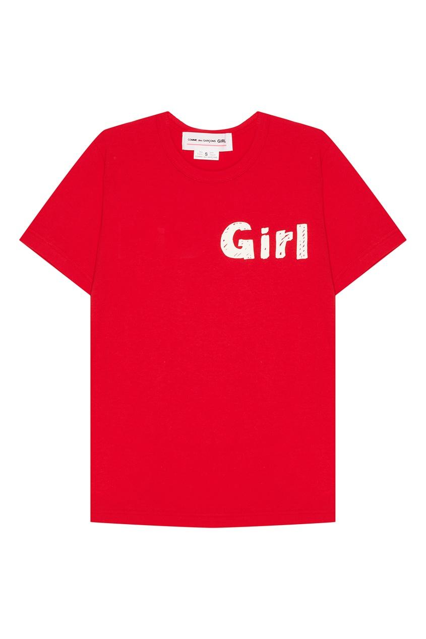 Comme Des Garcons Girl Красная футболка из хлопка comme des garcons comme des garsons