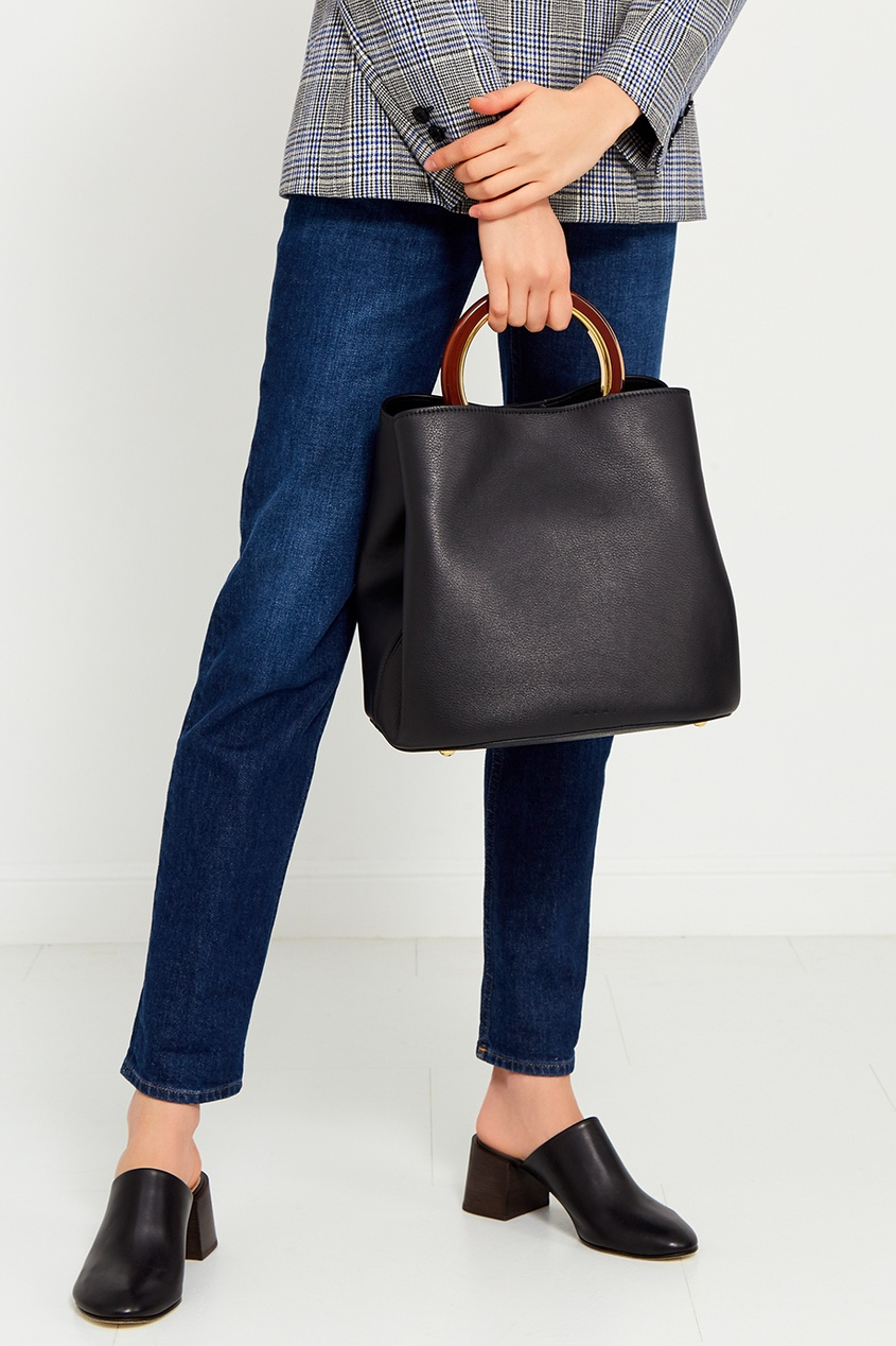 Кожаная сумка с круглой ручкой
