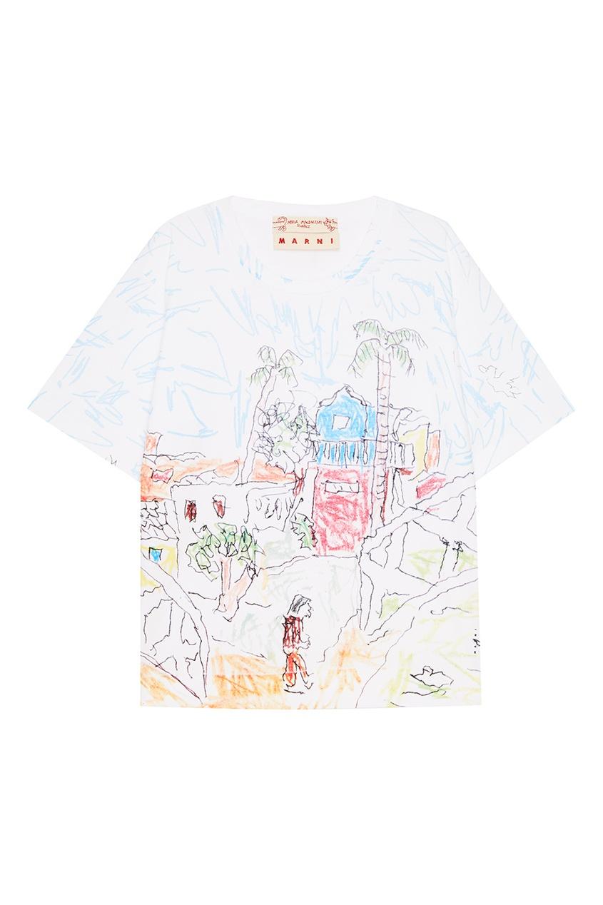 Marni Хлопковая футболка с рисунком складной нож kershaw launch 5