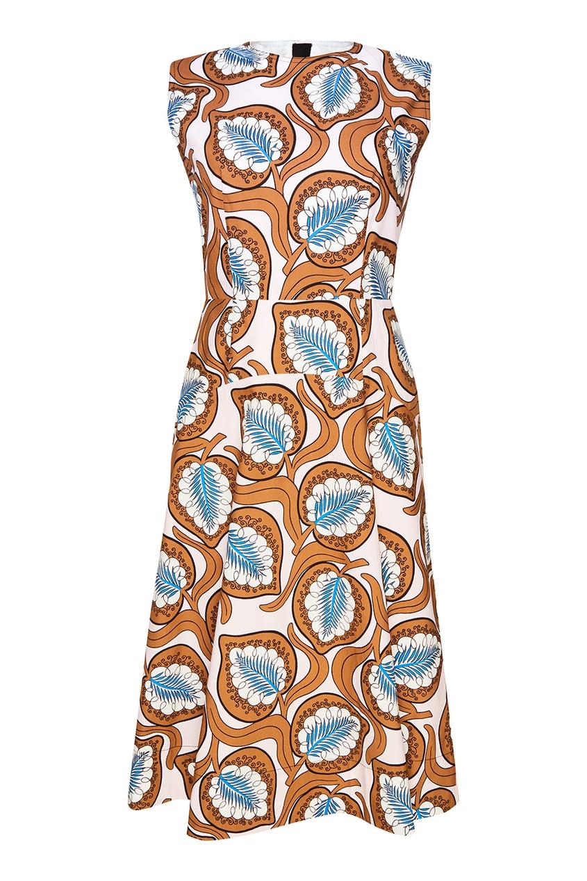 Хлопковое платье с листьями