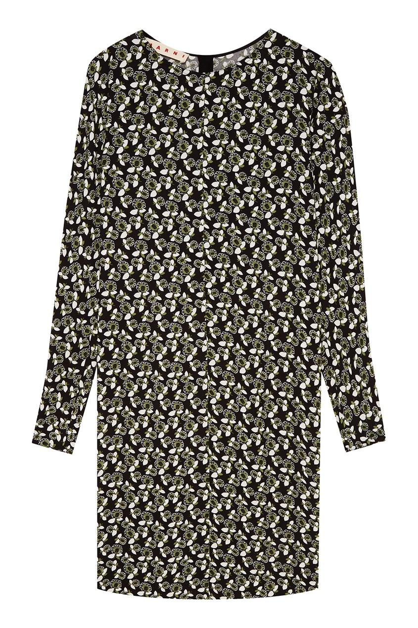 Marni Черное платье с принтом платье черное с паетками 44