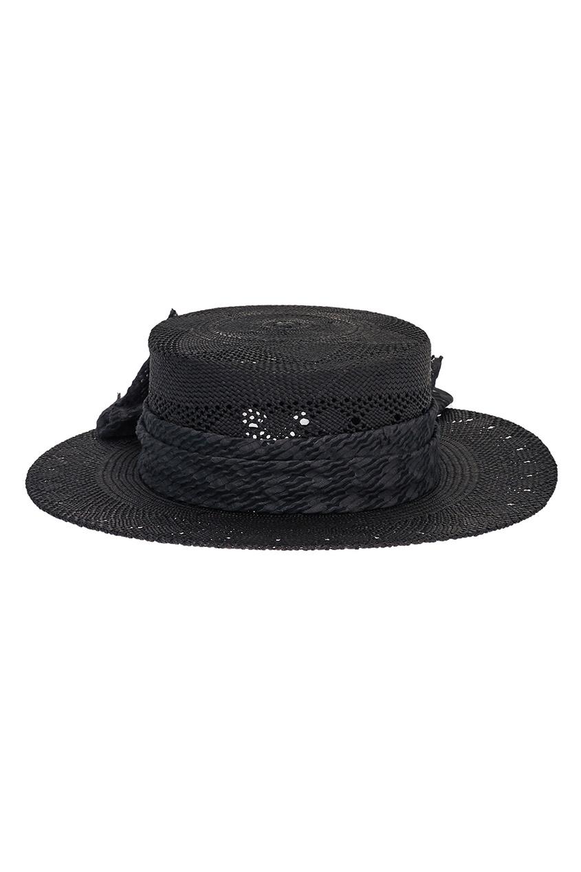 Maison Michel Черная соломенная шляпа Kiki