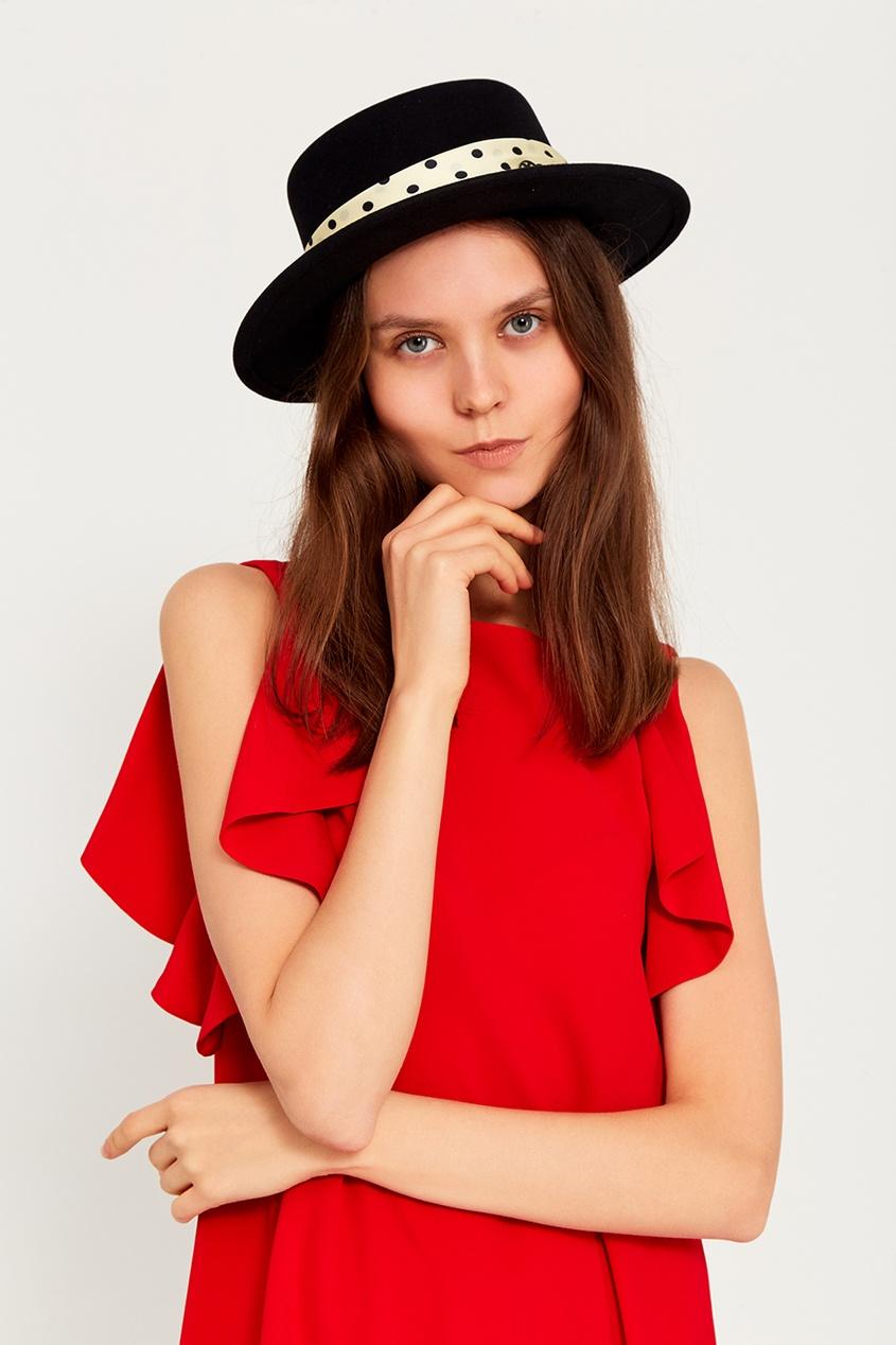 Maison Michel Черная фетровая шляпа с бантом Kiki