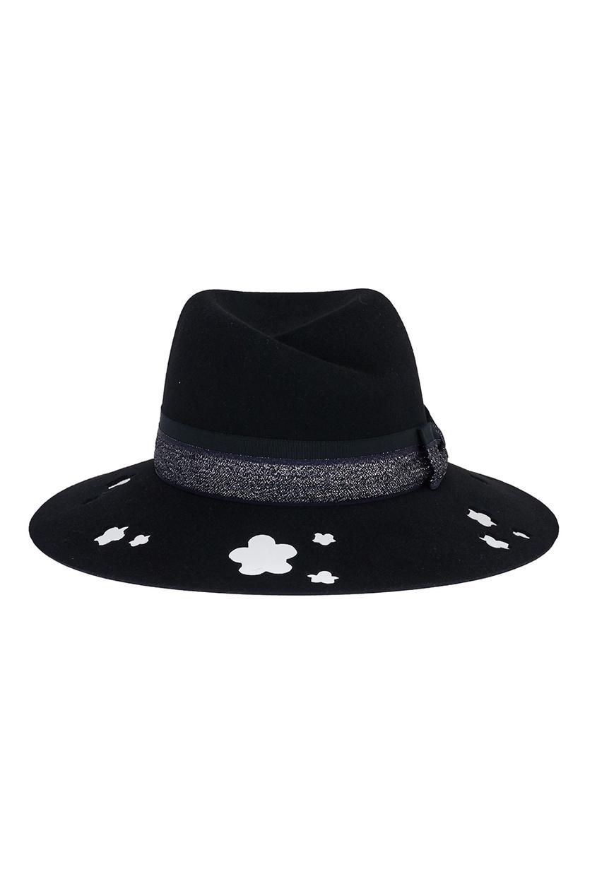 Купить со скидкой Черная фетровая шляпа с перфорацией Virginie