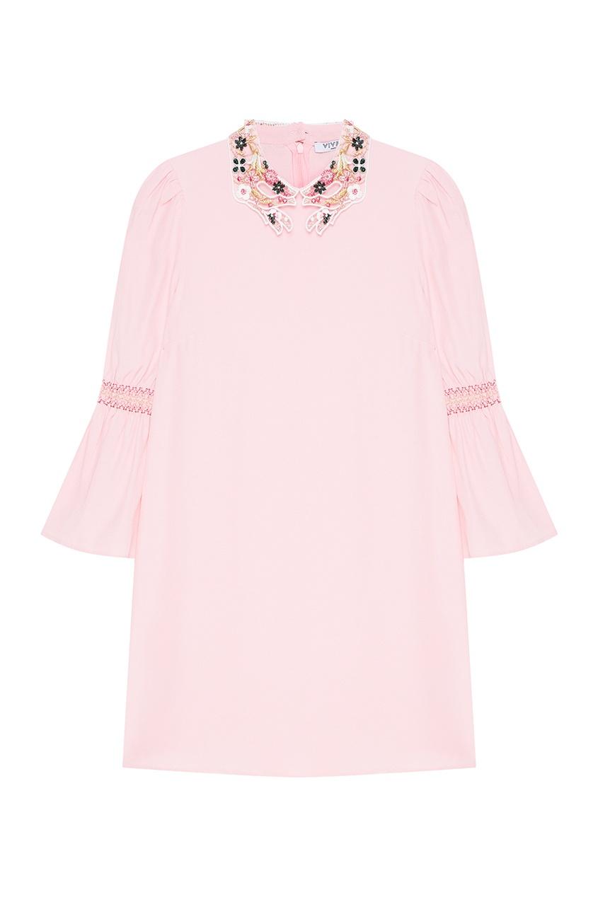 Vivetta Розовое платье с вышитым воротником vivetta бархатное платье с нашивками