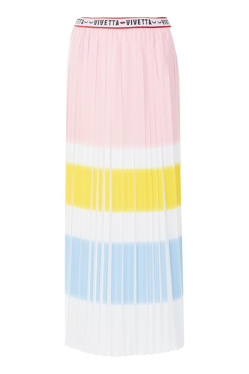 Vivetta Плиссированная юбка-миди юбка миди в полоску розового цвета