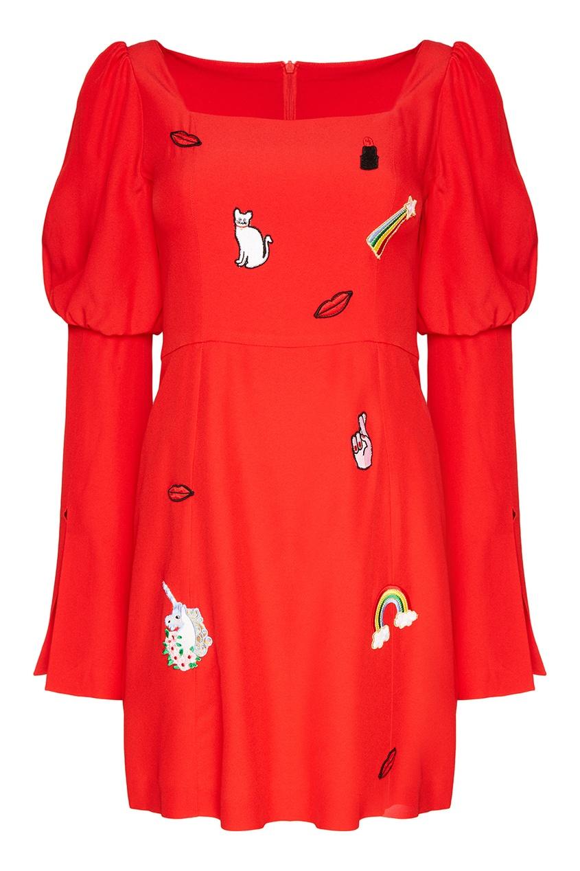Vivetta Красное платье с вышивками