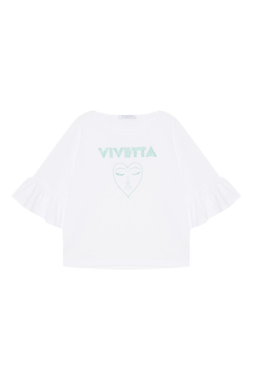 Хлопковая футболка с воланами на рукавах
