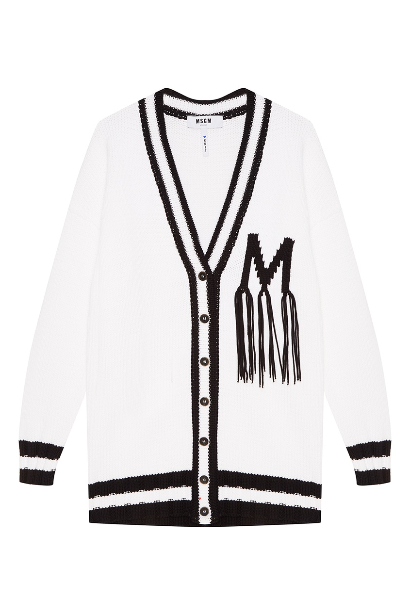 MSGM Белый хлопковый кардиган белый кардиган