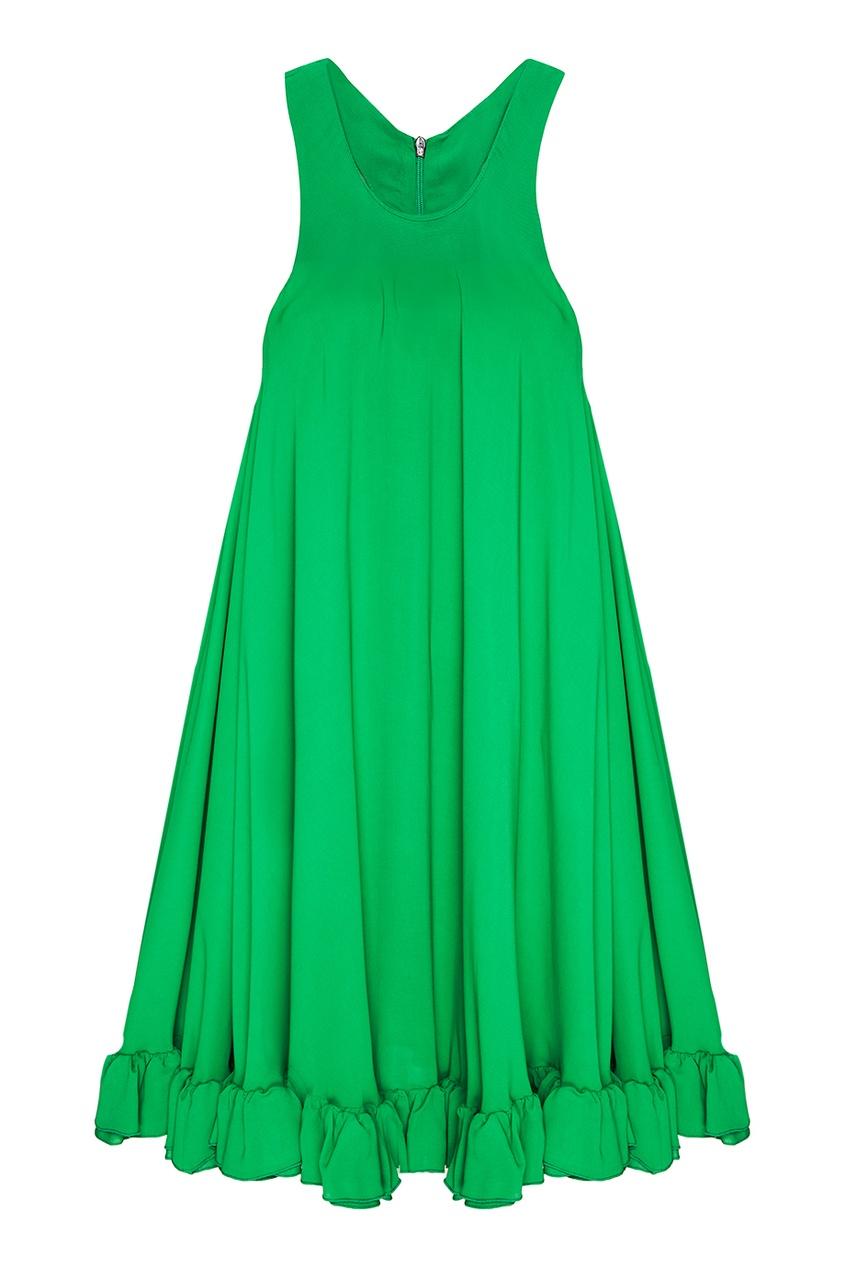 Платье-трапеция с воланом