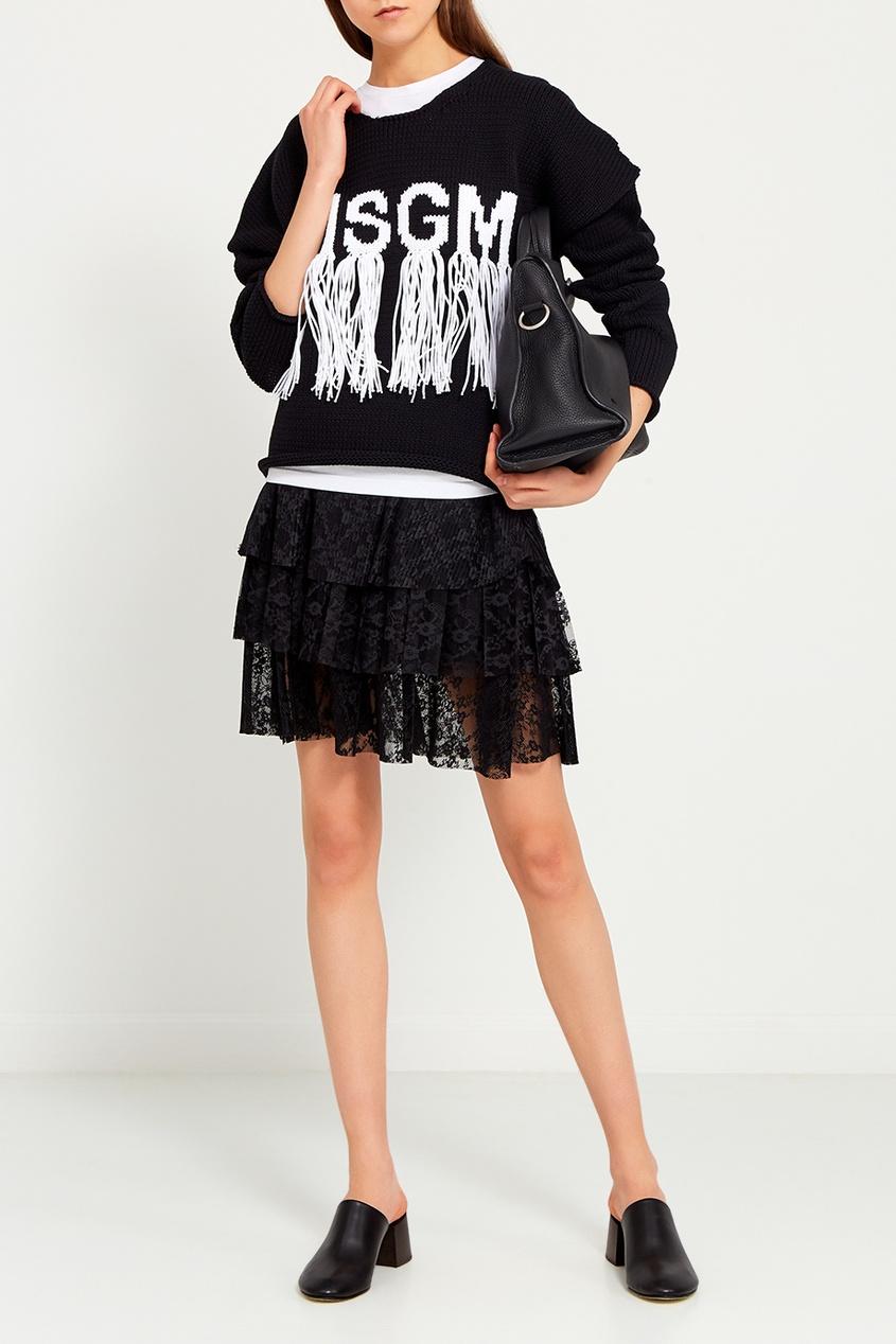 MSGM Хлопковый джемпер с бахромой msgm одежда