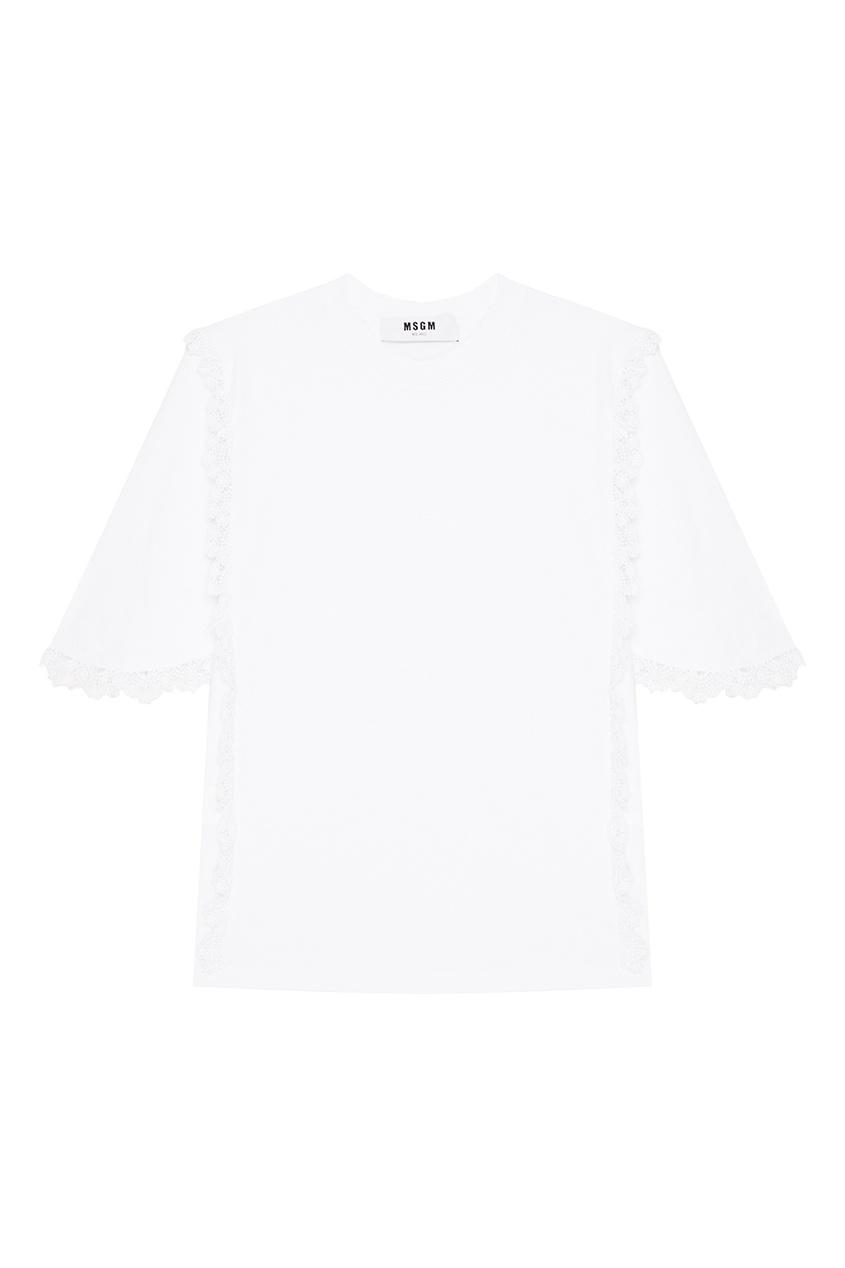 MSGM Хлопковая футболка с кружевом футболка белая catimini ут 00011611