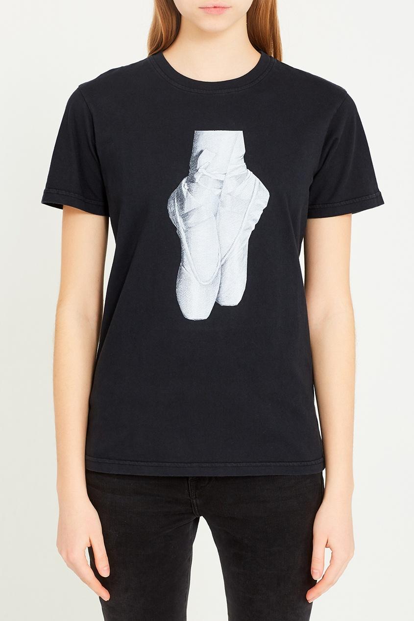 Черная футболка с пуантами