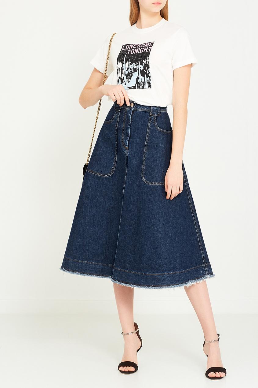 Alexa Chung Джинсовая юбка-миди юбка миди из тонкого денима