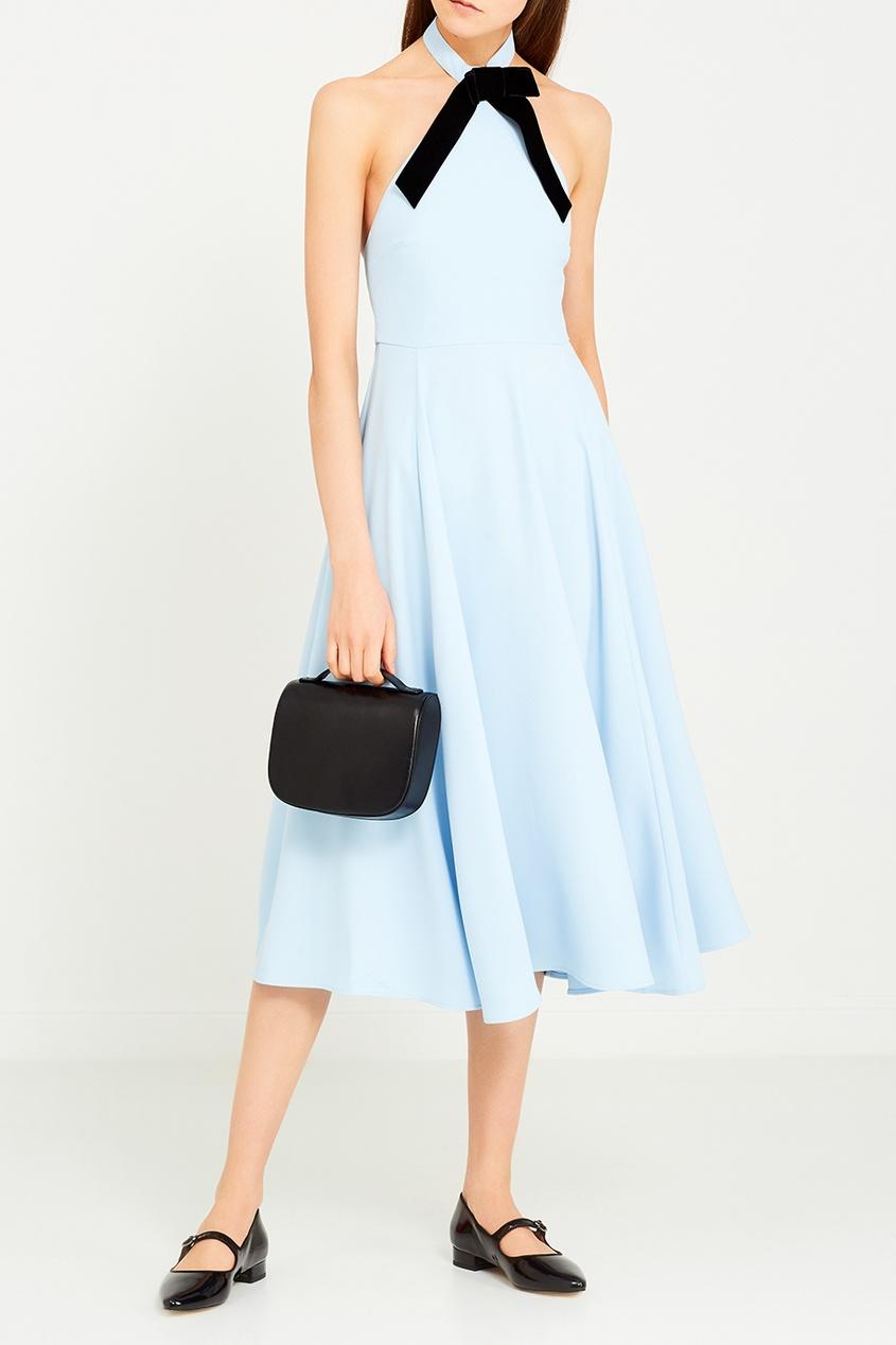 Alexa Chung Голубое платье с черным бантом платье голубое в белый горошек