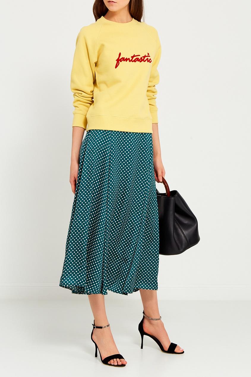 Зеленая юбка в горох