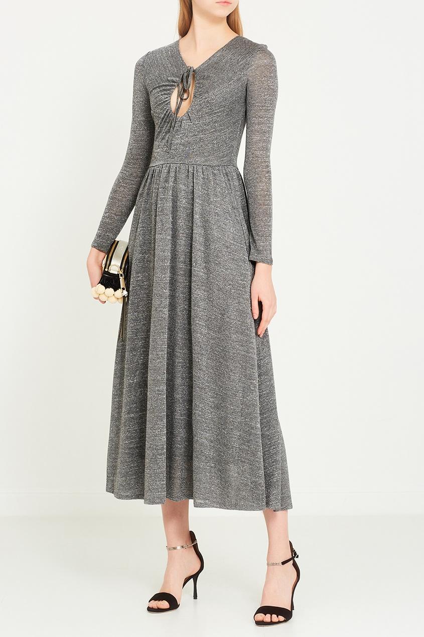 Серое платье с люрексом