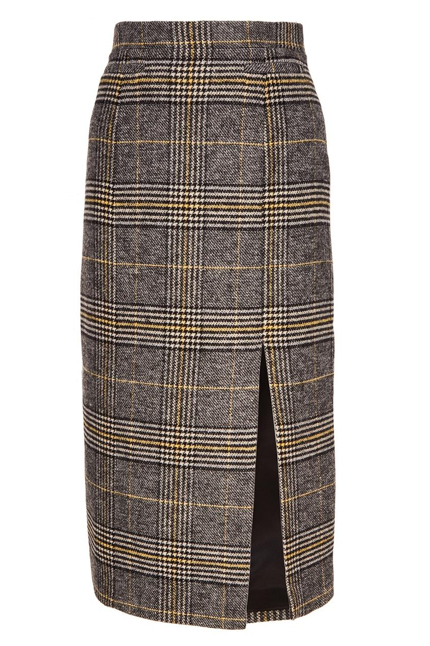 Серая юбка-карандаш в клетку Alexa Chung