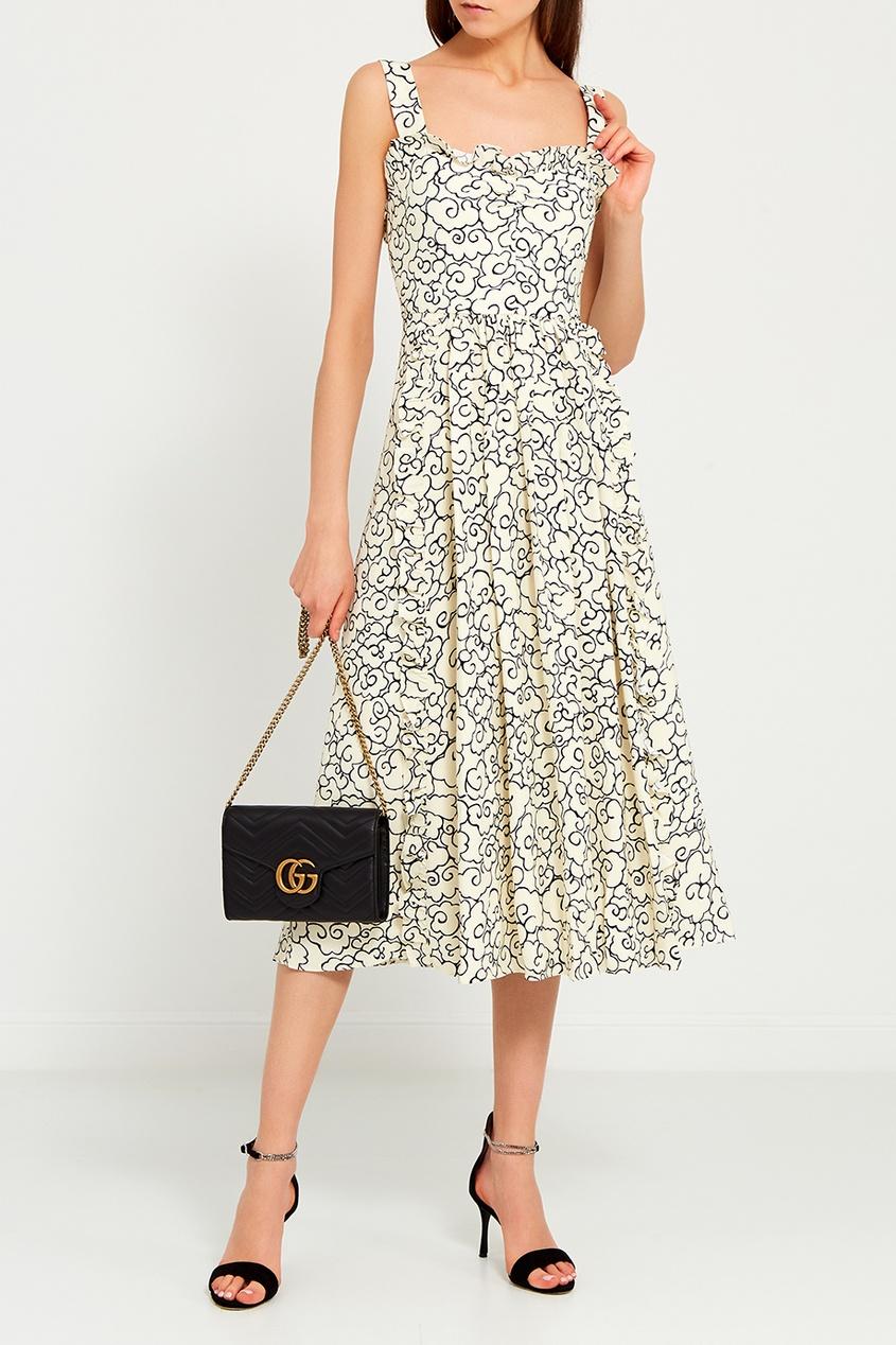 Платье с контурным принтом