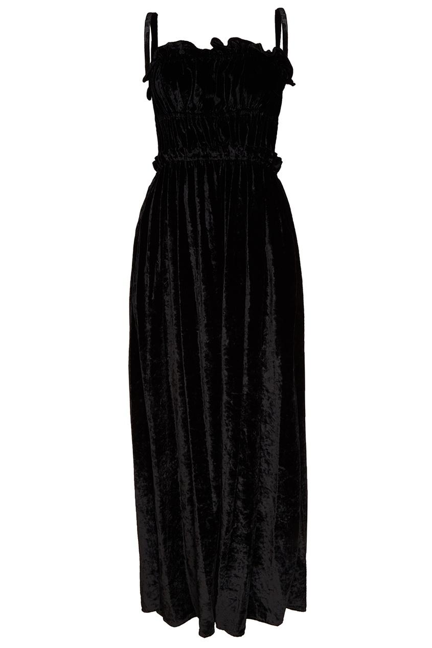 Alexa Chung Черное бархатное платье черное платье со складками 46