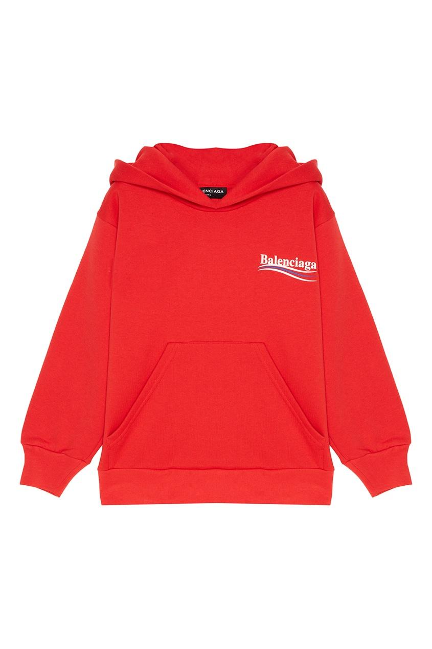 цена Balenciaga Kids Красное худи с логотипом онлайн в 2017 году