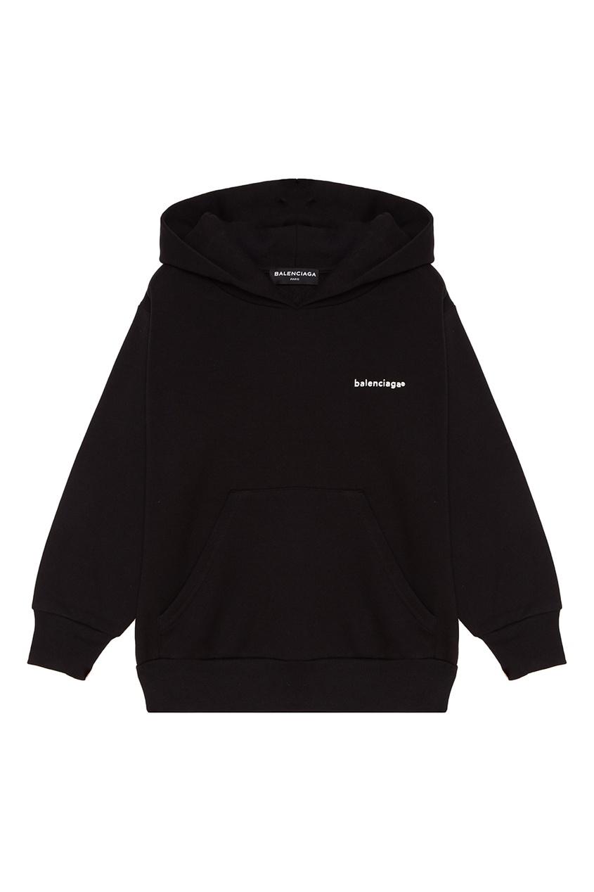 Черное худи с логотипом