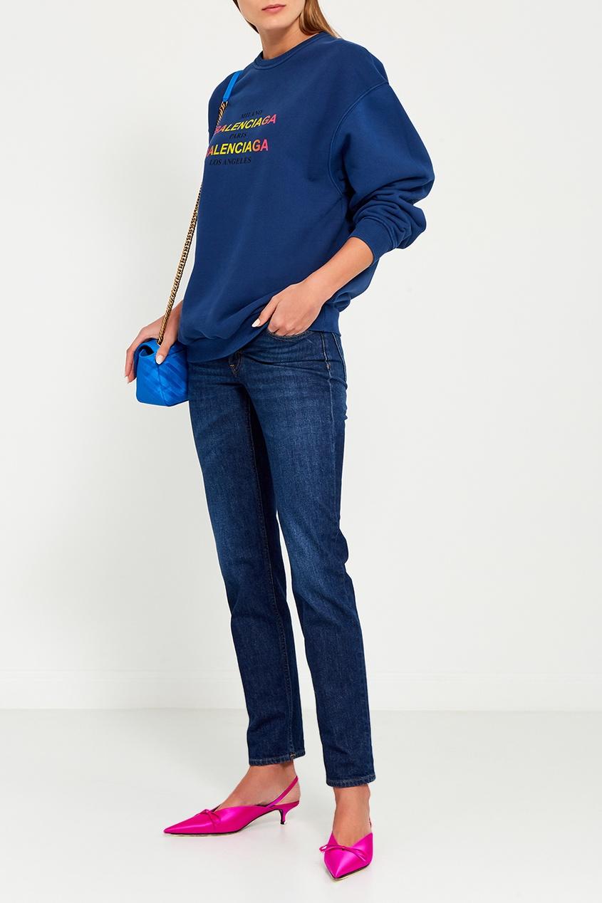 цена Balenciaga Синяя сумка с логотипами Chain Round S онлайн в 2017 году