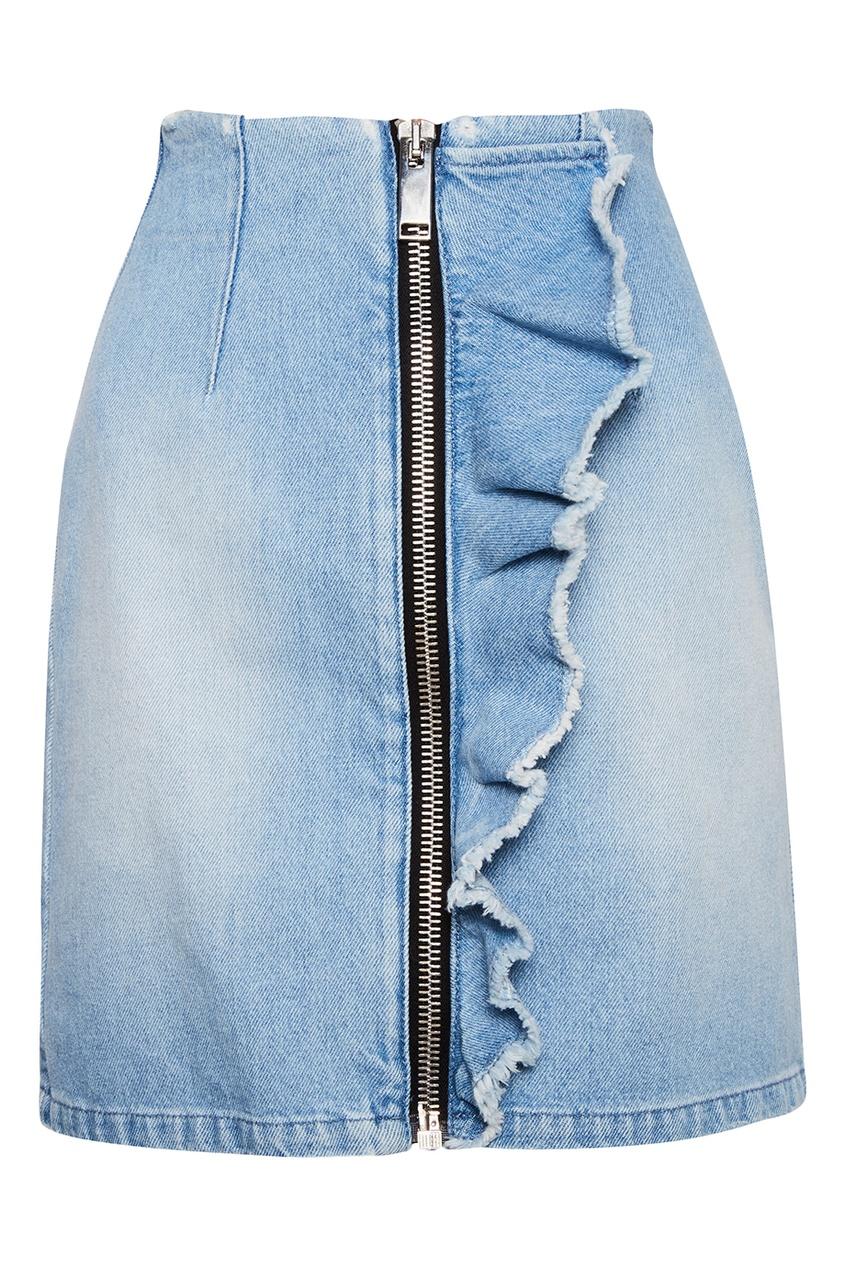 Джинсовая мини-юбка на молнии