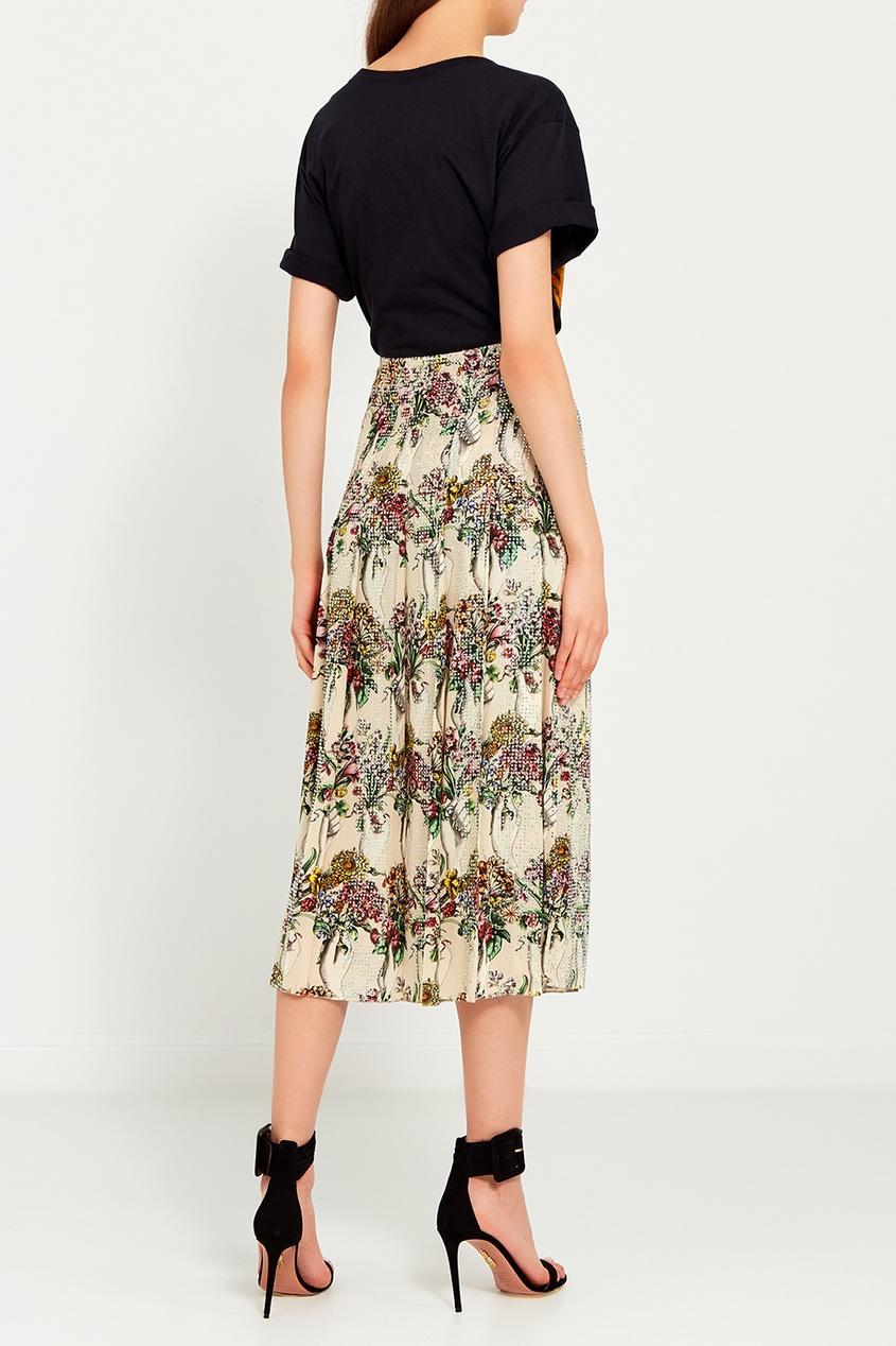 Шелковая юбка с принтом и кристаллами