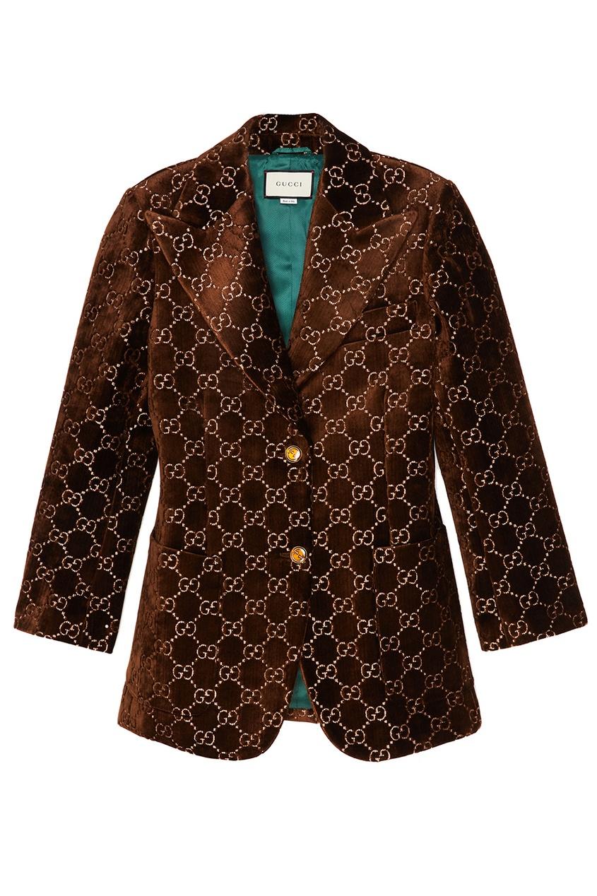 Gucci Коричневый жакет из бархата с монограммами gucci черный жакет с монограммами