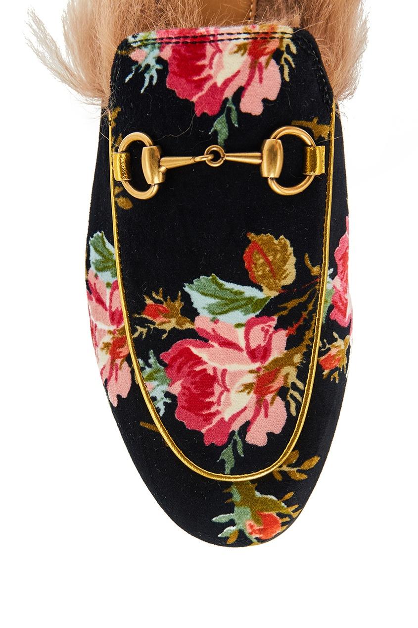 Gucci Бархатные слиперы с цветами Princetown слиперы мужские в спб