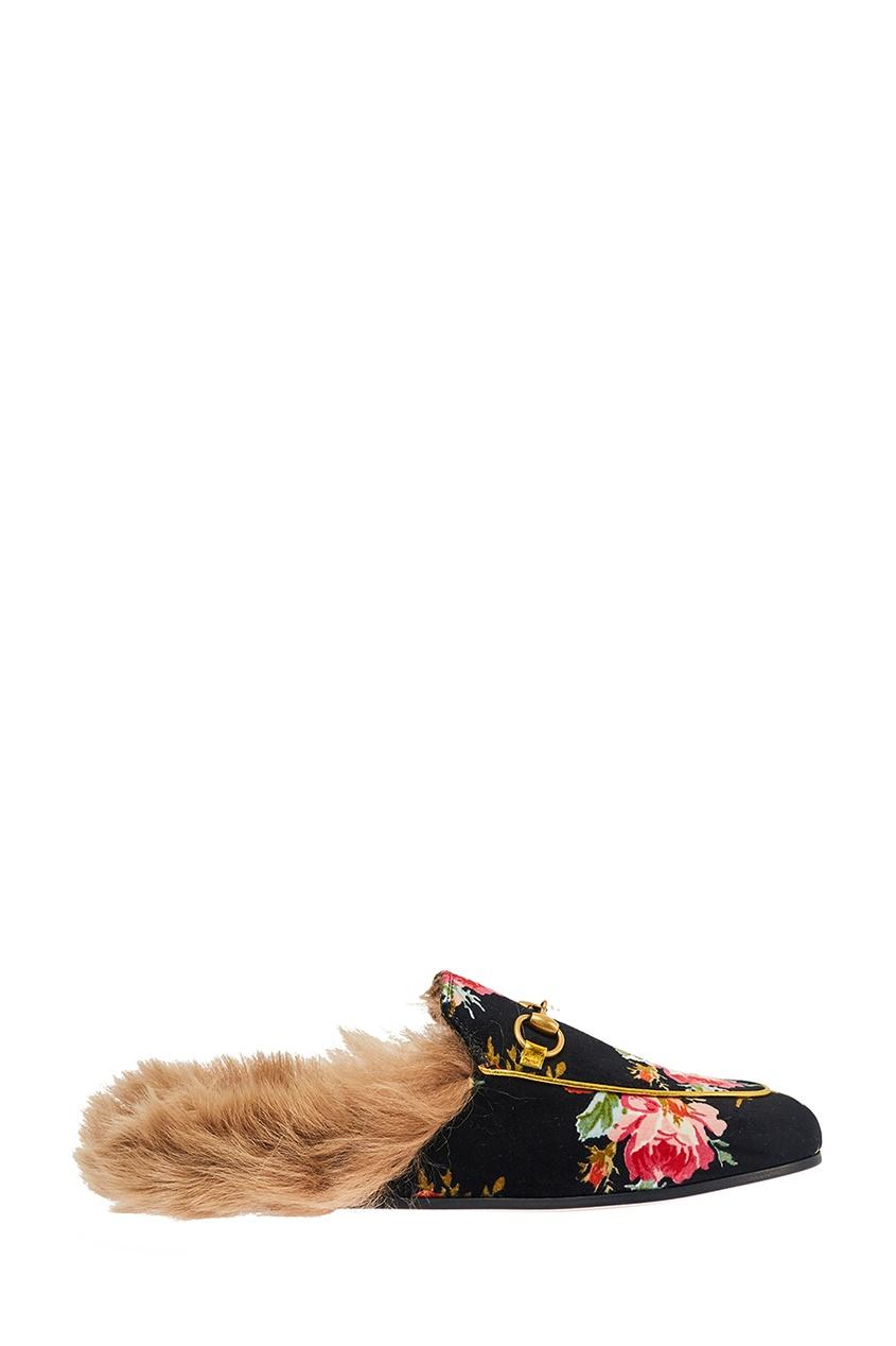 Gucci Бархатные слиперы с цветами Princetown слиперы beira rio слиперы