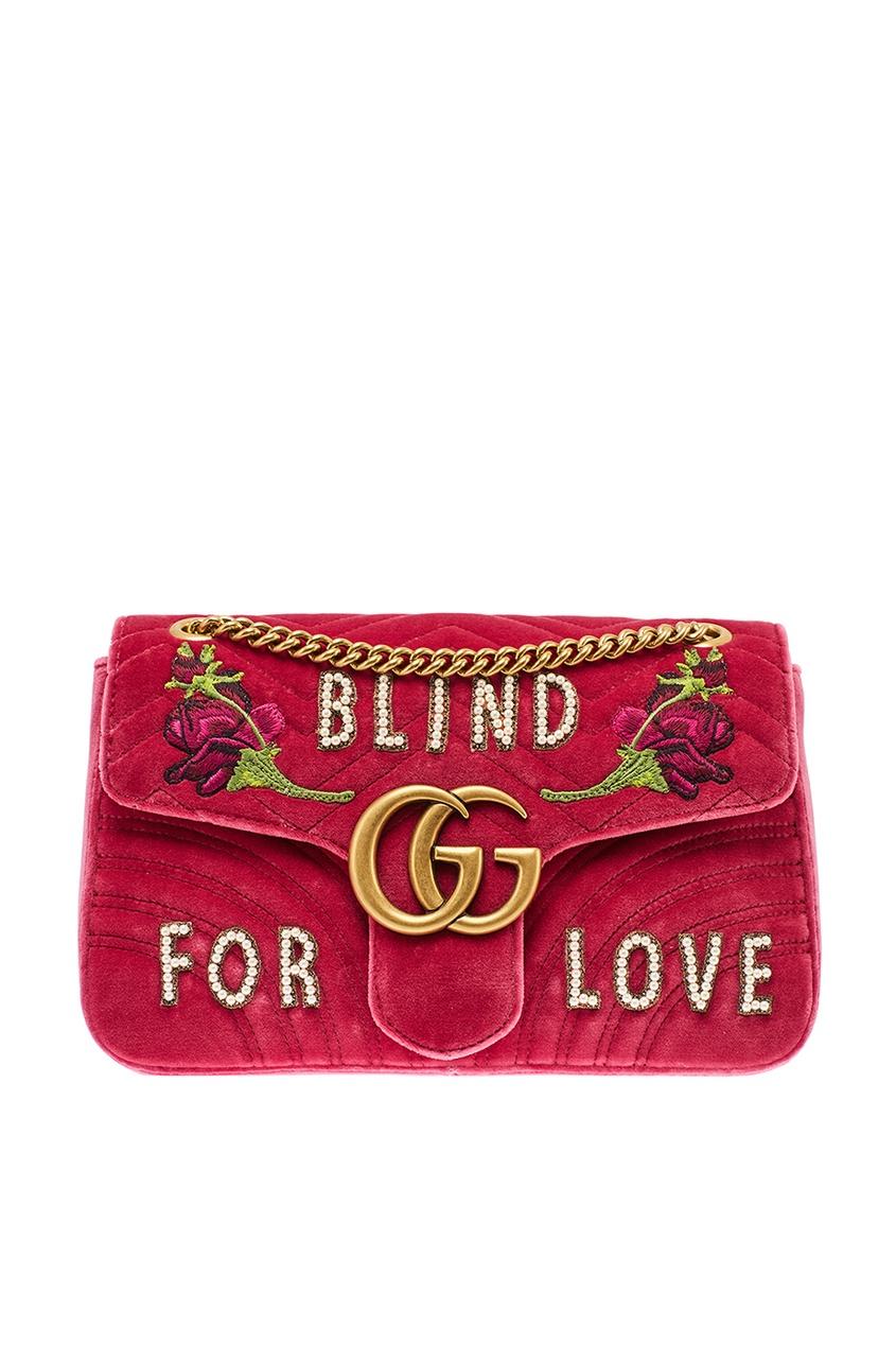 Декорированная сумка из бархата GG Marmont от Gucci