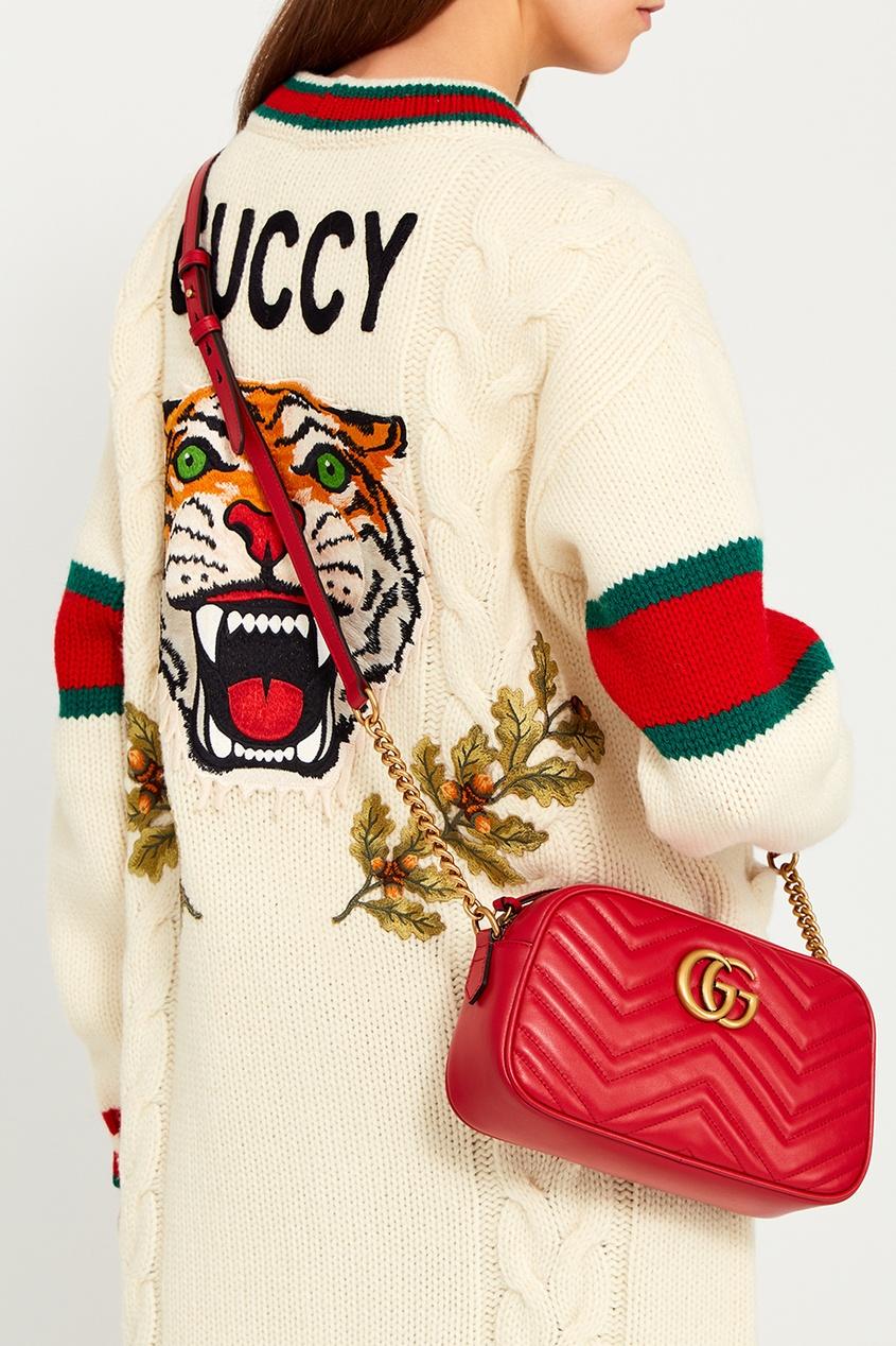 Gucci Красная кожаная сумка GG Marmont gucci красная бархатная сумка gg marmont