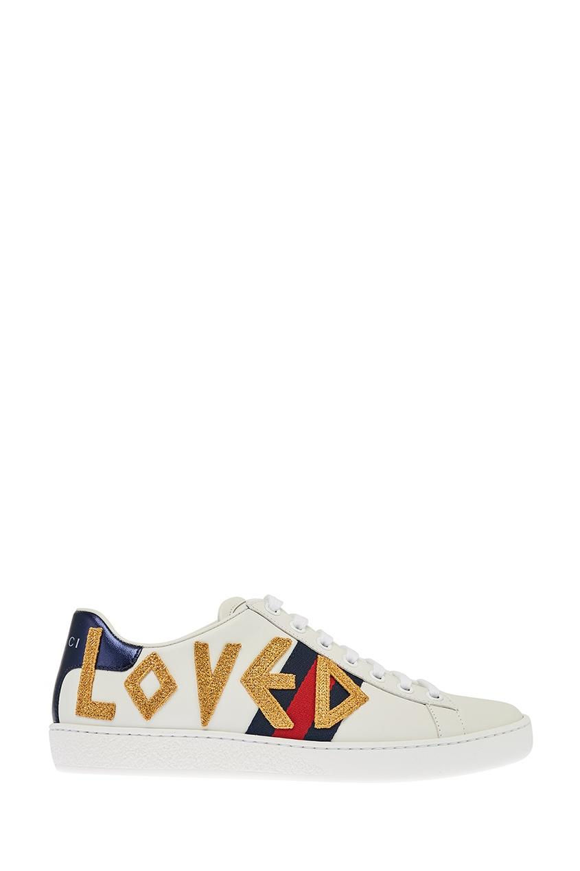 Gucci Белые кожаные кроссовки с нашивками Ace