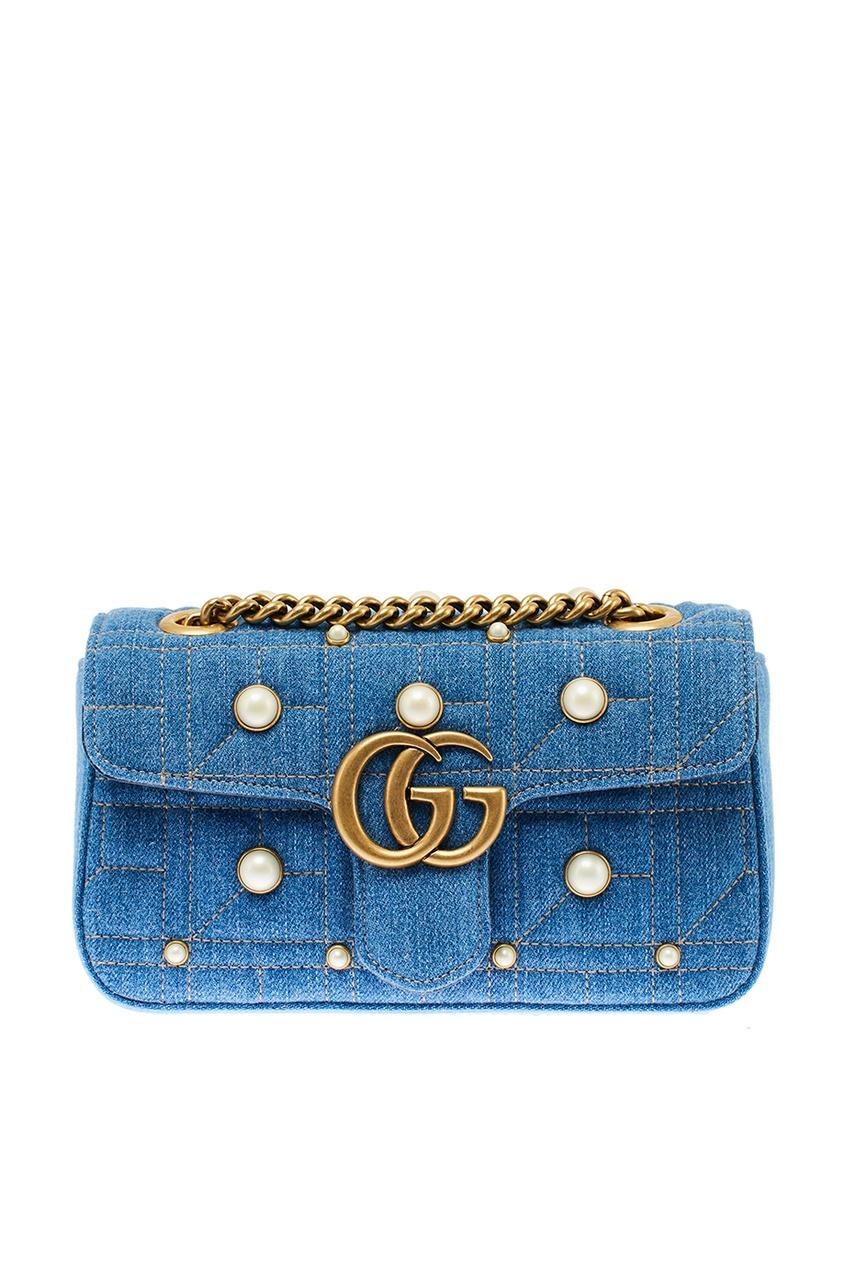 Gucci Джинсовая сумка с жемчужинами GG Marmont gucci кожаная сумка gg marmont